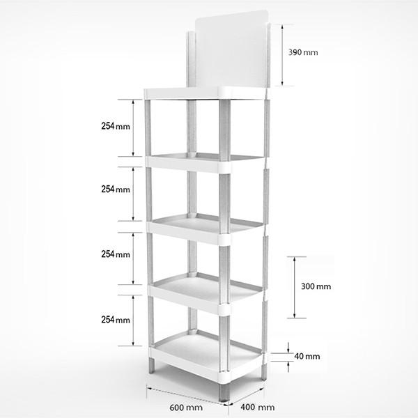 MINIFLEX Стеллаж пластиковый 5 полок. 1780*285*600мм