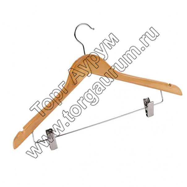 WS-009 Вешалка-плечики деревянная с прищепками
